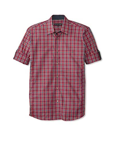 Jared Lang Men's Checked Sport Shirt with Roll-Up Sleeves