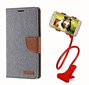 Aart Fancy Wallet Dairy Jeans Flip Case Cover for Apple4G (Grey) + 360 Rotating Bed Moblie Phone Holder Universal Car Holder Stand Lazy Bed Desktop by Aart store.