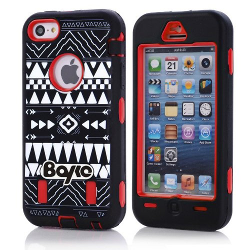 Apple Iphone 5c Fashion Camo Zebra Combo Print & Aztec Tribal Print Hybrid Armorbox Defender Case Protection Impact Bumper Dual Layer Heavy Duty Case Pc&rubber Silicone Material with Hard Holster (Not Fit Iphone 5 & 5s / Bayke Brand / Screen Protector Not Include) (Red) (Aztec Tribal Print / Bayke Brand) at Amazon.com