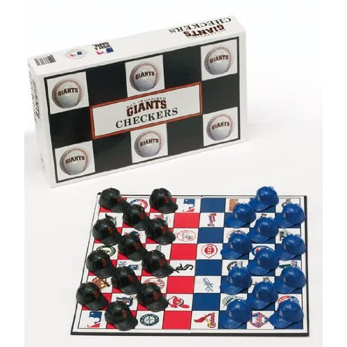 SAN FRANCISCO GIANTS vs. LOS ANGELES DODGERS Classic Board Game CHECKERS SET (with Team Colors & Helmets).
