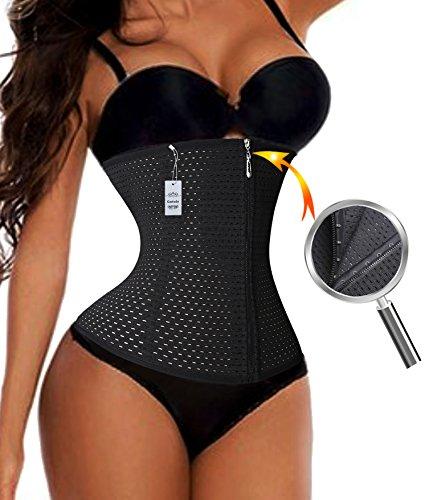 Gotoly Lumbar Support Back Brace Zipper With Hook Waist Trainer Cincher Belt (2XL, Black(2-3 day delivery))