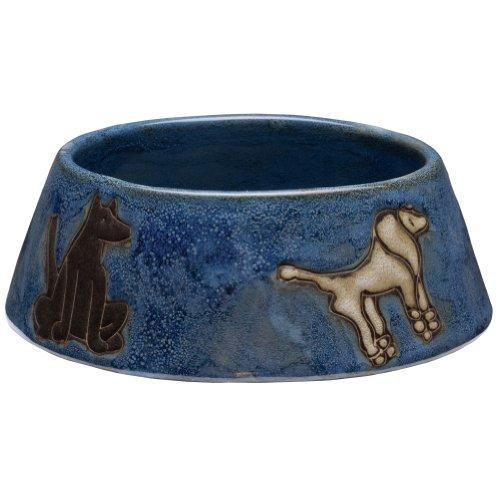 Animal World - Dogs Playing Medium Blue Doggie Dish