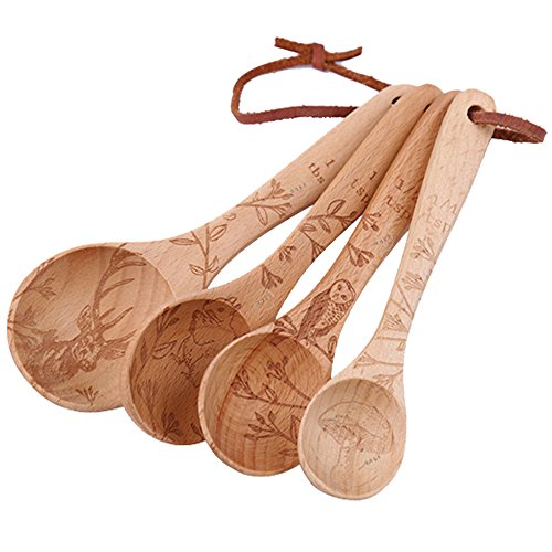 YOULANDA Kitchen Solid Beech Wood Tea Coffee Spice Measuring Spoon Set Of 4