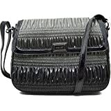 """Nine West """"Show Stopper"""" Teched Out Tablet Crossbody Bag Grey Black"""