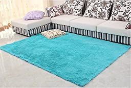Norson Home Textiles, Super Soft Modern Shag Area Rugs Off-white Living Room Carpet Bedroom Rug Washable Rugs Solid Home Decorator Floor Rug and Carpets (31.5* 62.3 inches (80* 160cm), Blue)