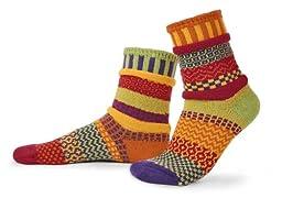 Solmate Socks - Mismatched Crew Socks; Made in USA; Daffodil Medium