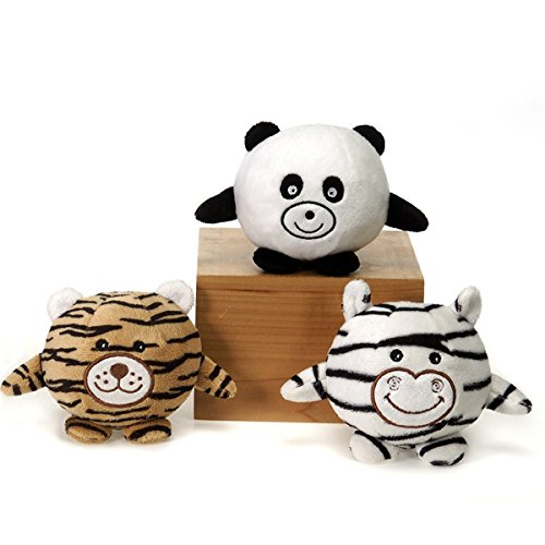 Fiesta Toy Safari Bean Bag Roundy Animals (3pc) Panda - Tiger - Zebra