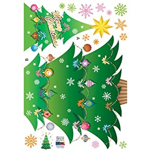 #!Cheap Easy Instant Decoration Wall Sticker Decal - Sparkly Christmas Tree