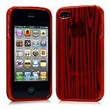 iPhone 4 ケース ソフト TPU ゼブラ模様 レッド 液晶保護フィルム USB充電ケーブル付