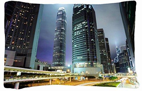 Microfiber Peach Queen Size Decorative Pillowcase -Cities Travel Hong Kong Wallpaper front-731479