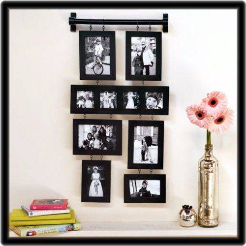 Black family wall hanging photo collage for Picture frame hanging designs