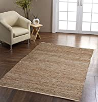 Homescapes Leather Hemp Recycled Eco Friendly 100% Natural Rug by Homescapes