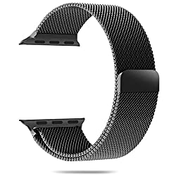 Apple Watch Band, Aerb Milanese Loop Stainless Steel Bracelet Strap Band W Unique Magnet Clasp for Apple Watch 38mm All Models [No Buckle Needed] - 38mm - Black