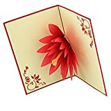 yepmax Artistic Pop-up Greeting Cards 3D Lotus Flower
