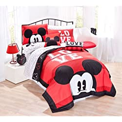 "Disney Mickey Classic Luv Full/Queen 80"" X 80"" 4 Piece Cotton Quilt Set, Black/Red"