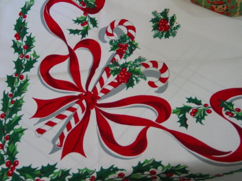 Vintage Reproduction Christmas Candy Cane Tablecloth