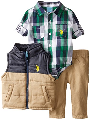 U.S. Polo Assn. Baby-Boys Newborn Puffer Vest Twill Jean and Woven Shirt, Classic Navy, 12 Months