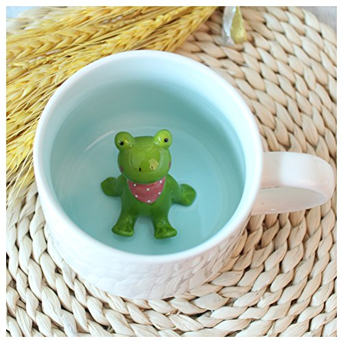 3D Cute Cartoon Miniature Animal Figurine Ceramics Coffee Cup - Baby Frog Inside, Best Office Cup & Birthday Gift (Frog)
