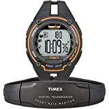 Timex Ironman Men&#8217;s Road Trainer Heart Rate Monitor Watch, Black/Orange, Full Size