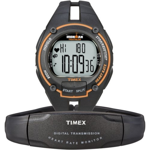Cheap Timex Ironman Men's Road Trainer Heart Rate Monitor Watch, Black/Orange, Full Size (5K212)