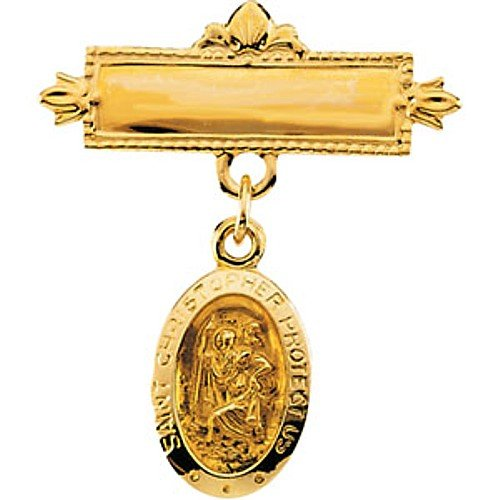 14K Yellow Gold St. Christopher Baptismal Brooch