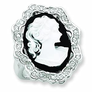Sterling Silver CZ Cameo Ring