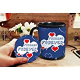 Gift For Friend & Friendship Day Gift Set Of Coffee Mug And Coaster Design 7
