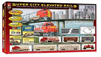 Life-Like Trains  HO Scale Super City Elevated Rails Double Electric Train Set