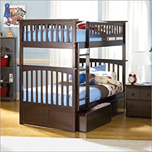 Atlantic Furniture Columbia Twin Over Twin Bunk Bed, Antique Walnut with Flat Panel Bed Drawers