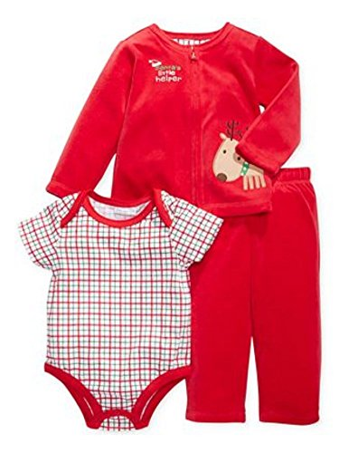 First Impressions Infant Boys Red Velour Reindeer Outfit Pants Shirt & Sweater