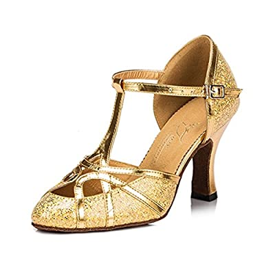 Doris Fashion HW0010 Women's PU Leather Glitter Sequins Tango Ballroom Latin Dance Shoes