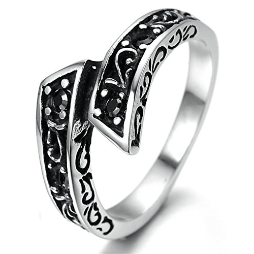 Stainless Steel Ring for Men, Toreutics Ring Gothic Black Band Silver Band 12MM Size 10 Epinki