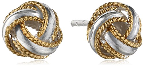 Sterling Silver Two-Tone Polished Rope Band Love Knot Stud Earrings