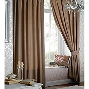 Catherine Lansfield Faux Silk Plain Pencil Pleat Latte Curtains from Catherine Lansfield