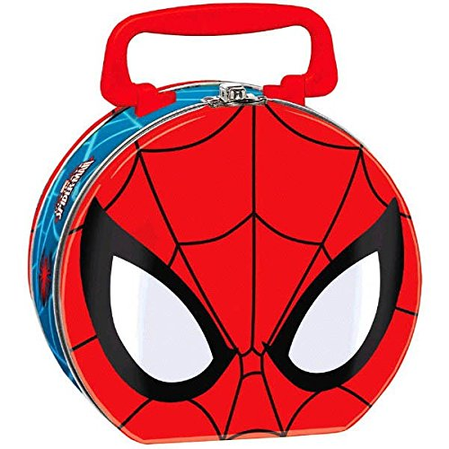 "Amscan Ultimate Spider Man Metal/Tin Box, 5-3/4 x 6-1/4 x 3"", Blue/Red - 1"
