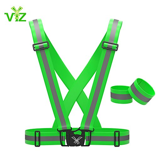 Reflective Vest with Hi Vis Bands, Fully Adjustable & Multi-purpose: Running Vest, Cycling Gear, Motorcycle Safety, Dog Walking & More - High Visibility Neon Green Xl - By 247 Viz (Pro 4 Service Course compare prices)