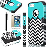 iPhone 5S Case, Pandamimi ULAK(TM) Lastest Pattern Hybrid High Impact Soft TPU + Hard PC Case Cover for Apple iPhone 5S 5 5G with Screen Protector and Stylus (Follow the sky)