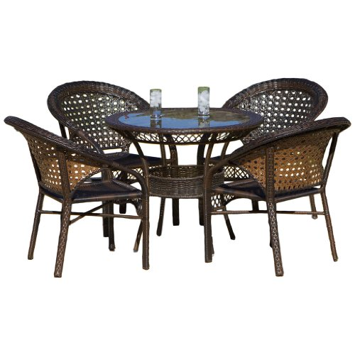 Malibu 5 piece wicker dining set cheap patio for Affordable outdoor dining sets