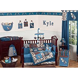 Sweet Jojo Designs Blue and Brown Tropical Hawaiian Surf Beach Baby Boy Bedding 9pc Crib Set