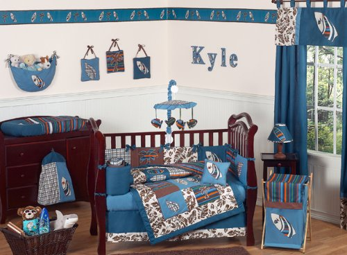 Blue and brown tropical hawaiian surf beach baby boy for Baby blue and brown bedroom ideas