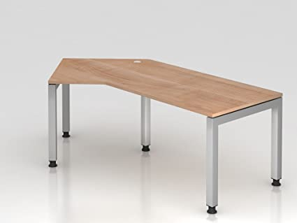 Angolo tavolo supporto U rettangolare, 210x 113cm, 135°, noce