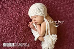 Ivory Newborn Chunky Double Pom Pom Hat Photography Prop, Baby Props, Newborn Prop, Photo Props, Handmade Hat