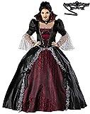 Madrugadaヴァンパイアクイーンコスチューム(ドレス+立ち襟+大型パニエ)&レースアイマスク2点セットレディースMサイズS465