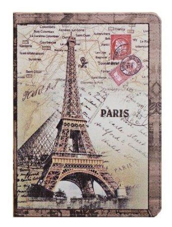 W-Rainbow Ipad Air Case Postcard Postmark Design Retro British Style Scenic Monuments Eiffel Tower Pattern Leather Folio Stand Protective Case For Apple Ipad Air/Ipad 5(Random Gift 1 Piece Car Sticker)