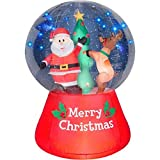 Christmas Inflatable LightShow LED Snow Globe 5.5' Santa & Reindeer Decorating Christmas Tree By Gemmy