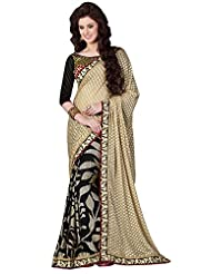 Brasso Black & Gold Colour Saree For Party Wear
