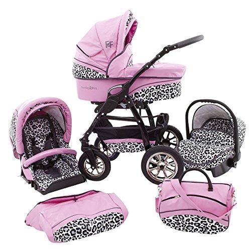 Ferriley & Fitz Filipo 3 in 1 carrozzina combi passeggino (seggiolino auto incl. adattatore, parapioggia, zanzariera, ruote girevoli, 04 colori) 103 pelle rosa & leopardo delle nevi