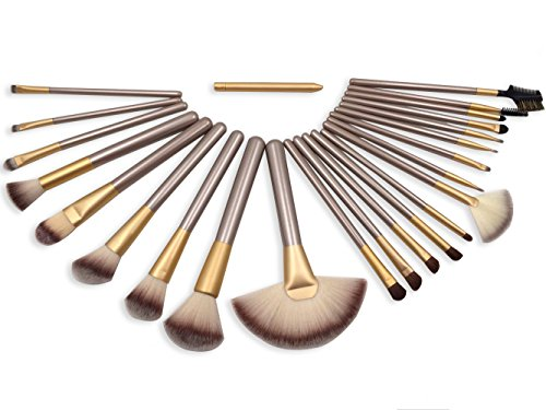 eNilecor 24 PCS Professional Makeup Brushes Set Natural Cosmetic Brush Set with Leather Cae Bag for Eyeliner Face Concealer(Gloden 24PCS)