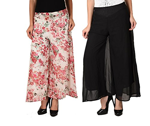 2DAY's Women Stylish Georgette Plazzo Floral and Solid Black (Pack of 2)