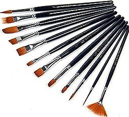 Ponvey 12Pcs Oil Acrylic Watercolour and Gouache Artists Paint Brush Set, Script Art Paintbrushes for Art Students, Amateur and Artists